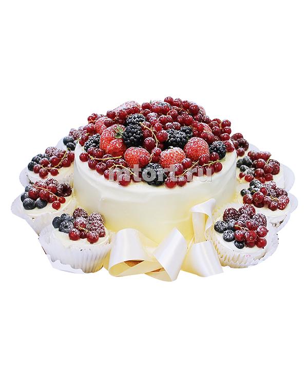 №201 Свадебный торт с капкейками