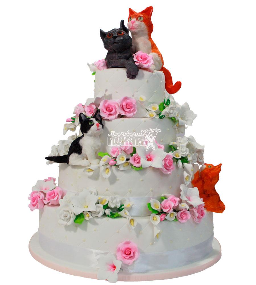 Торт с котами свадебный