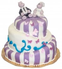 №370 Свадебный торт с бегемотами
