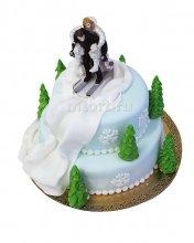 №369 Свадебный торт лыжники