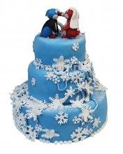 №379 Свадебный торт с пингвинами