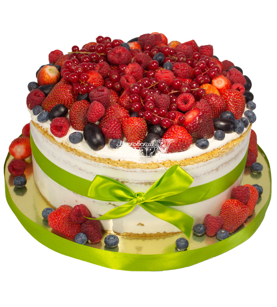 №361 Свадебный торт со сливками и ягодами