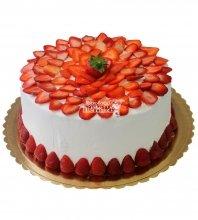 №408 Свадебный торт со сливками и клубникой