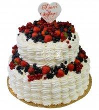 №409 Свадебный торт со сливками и ягодами