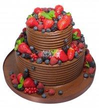 №416 Свадебный торт со сливками и ягодами