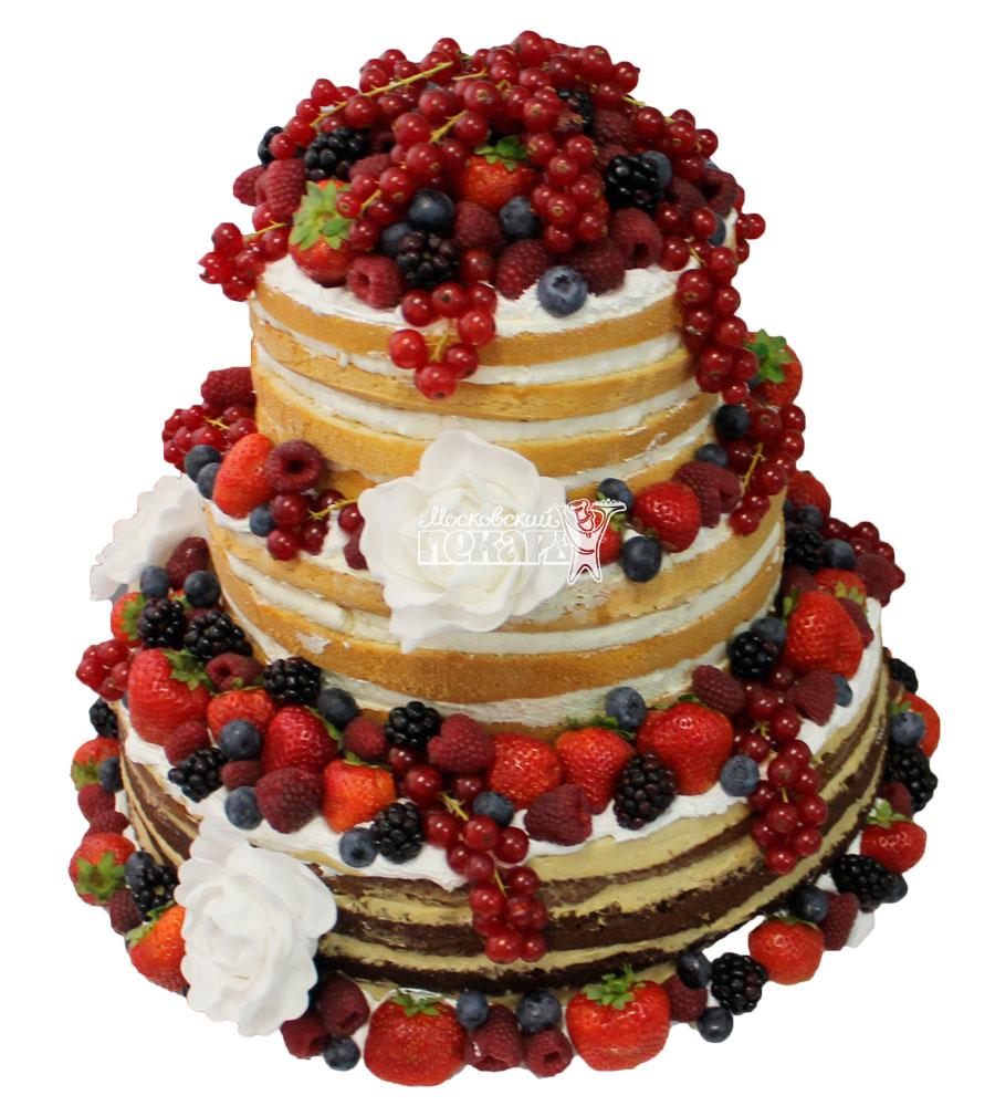 №413 Свадебный торт со сливками и ягодами
