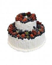 №670 Свадебный торт со сливками и ягодами