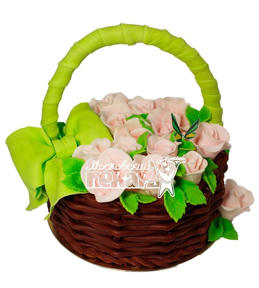№557 Торт корзина с цветами
