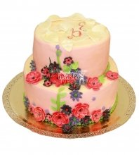 №597 Свадебный торт с цветами