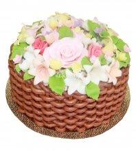 №598 Торт корзина с цветами