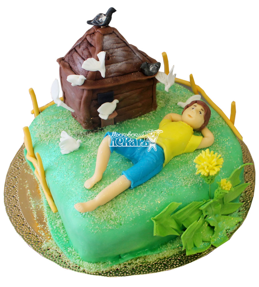 №618 Торт мальчик на полянке