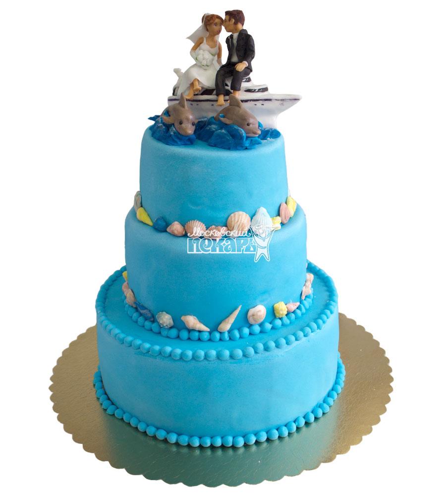 №631 Свадебный торт синий
