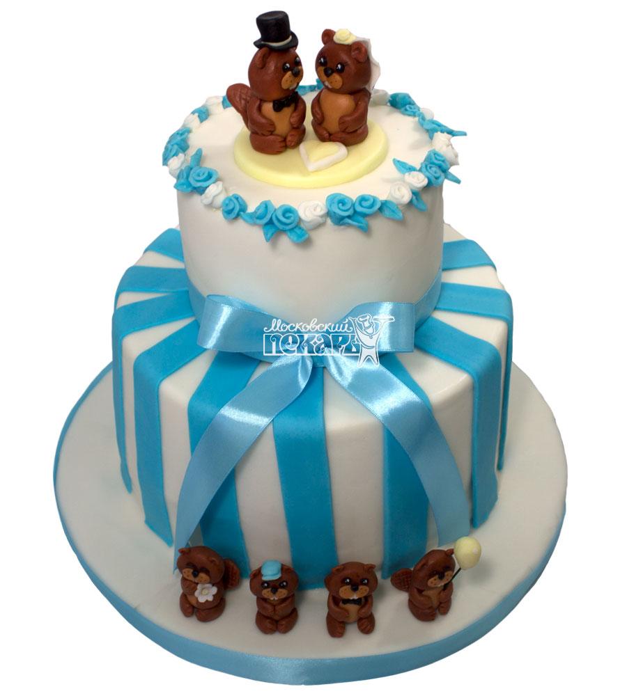 №648 Свадебный торт с бобрами