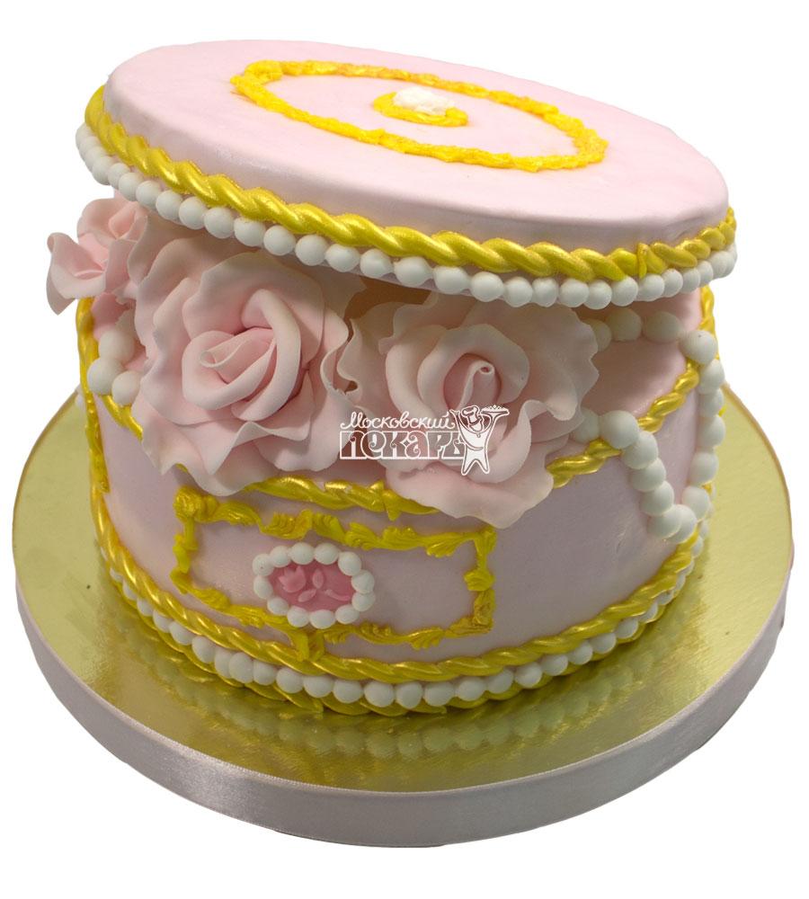 №664 Торт шкатулка с цветами
