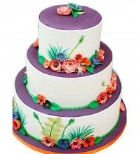 №980 Свадебный торт с цветами
