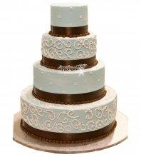№990 Свадебный торт с цветами