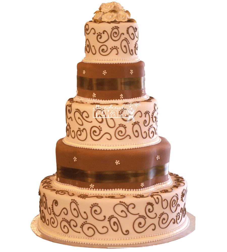 №992 Свадебный торт с узорами