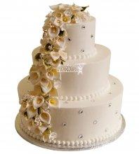 №993 Свадебный торт с цветами