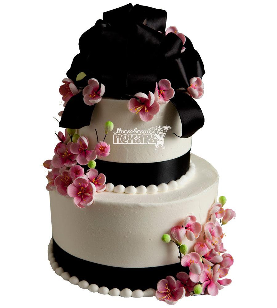 №994 Свадебный торт с цветами