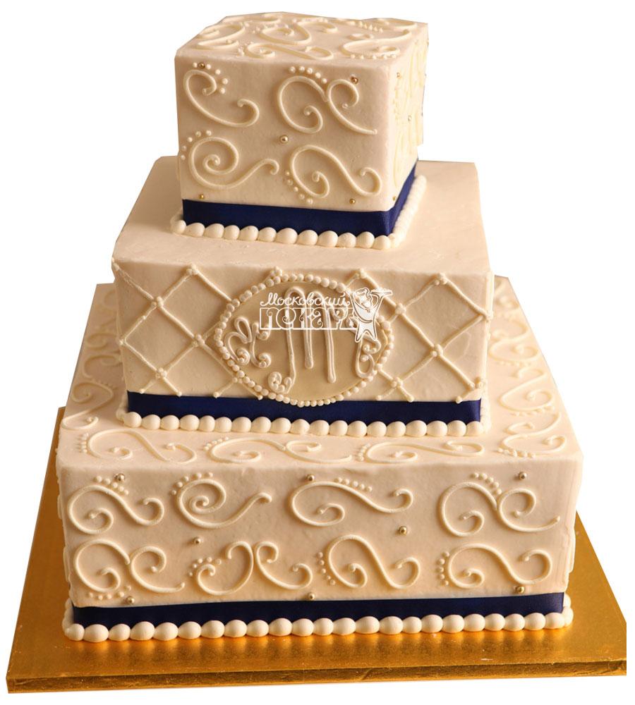 №997 Свадебный торт с узорами