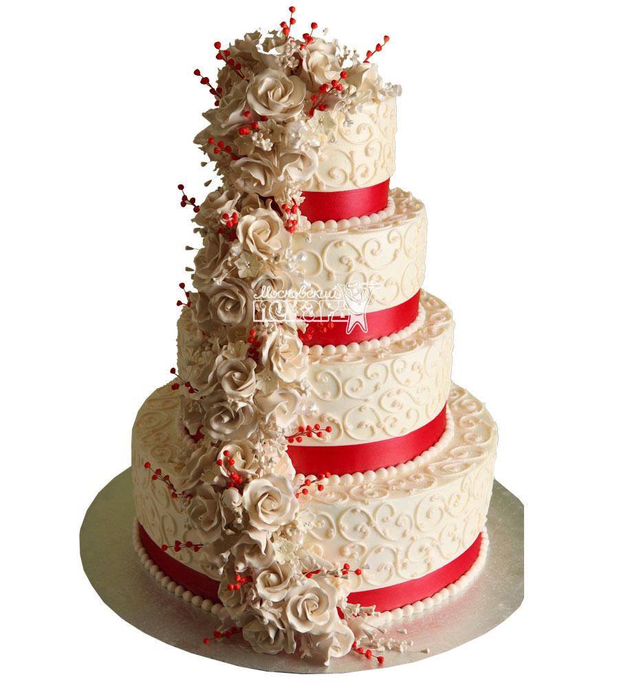 №1000 Свадебный торт с цветами