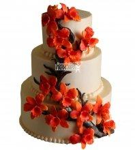 №1004 Свадебный торт с цветами