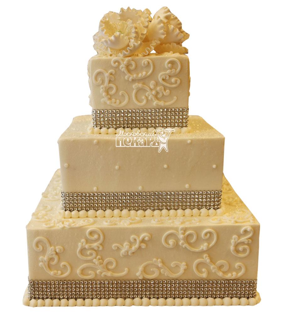 №1010 Свадебный торт с цветами