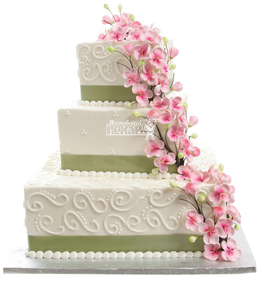 №1014 Свадебный торт с цветами