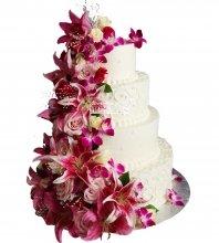 №1018 Свадебный торт с цветами