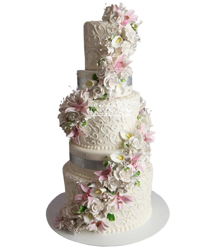 №1029 Свадебный торт с цветами