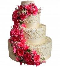 №1030 Свадебный торт с цветами