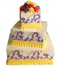 №1036 Свадебный торт с цветами