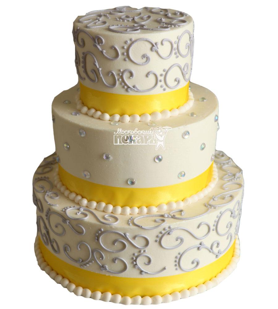 №1044 Свадебный торт с узорами