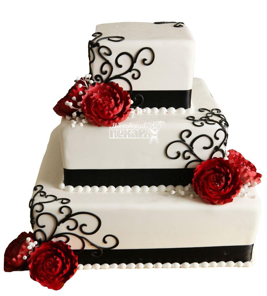 №1045 Свадебный торт с цветами