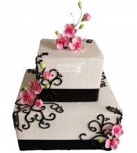 №1050 Свадебный торт с цветами