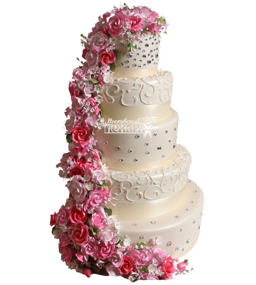№1051 Свадебный торт с цветами