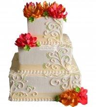 №1052 Свадебный торт с цветами