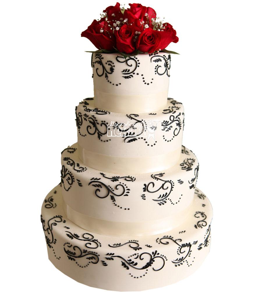 №1053 Свадебный торт с цветами