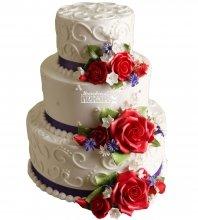 №1057 Свадебный торт с цветами