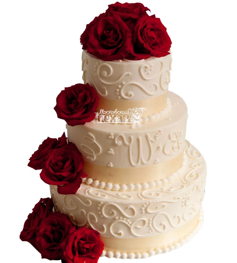 №1063 Свадебный торт с цветами