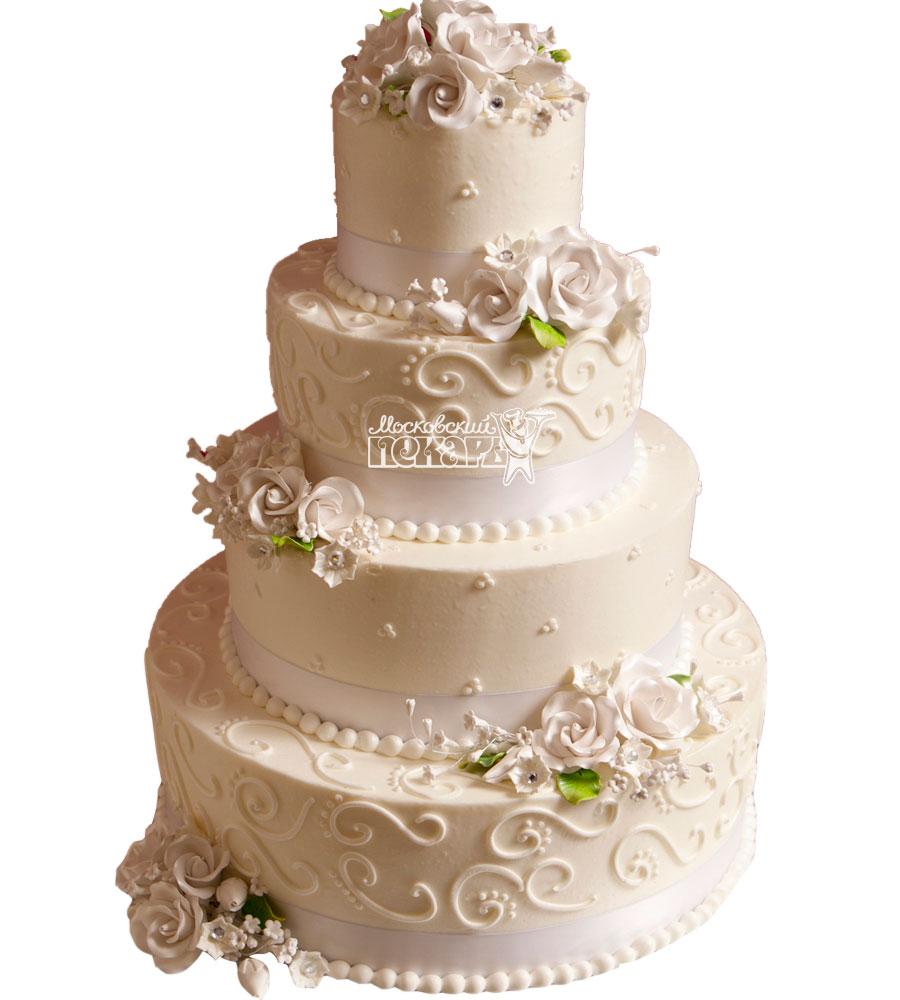 №1065 Свадебный торт с цветами