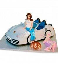 №1172 3D Торт девушка на машине