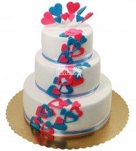 №1289 Свадебный торт с сердечками