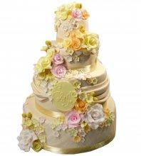 №1293 Свадебный торт с цветами
