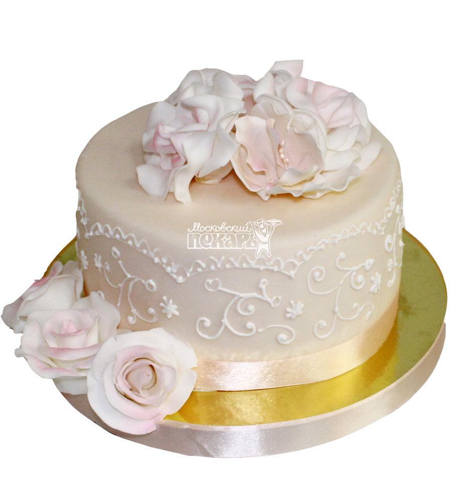 №1303 Свадебный торт с розами