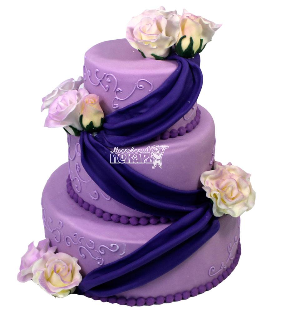 №1513 Свадебный торт с цветами
