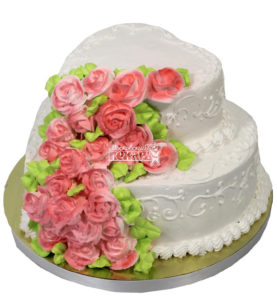 №1516 Свадебный торт с цветами