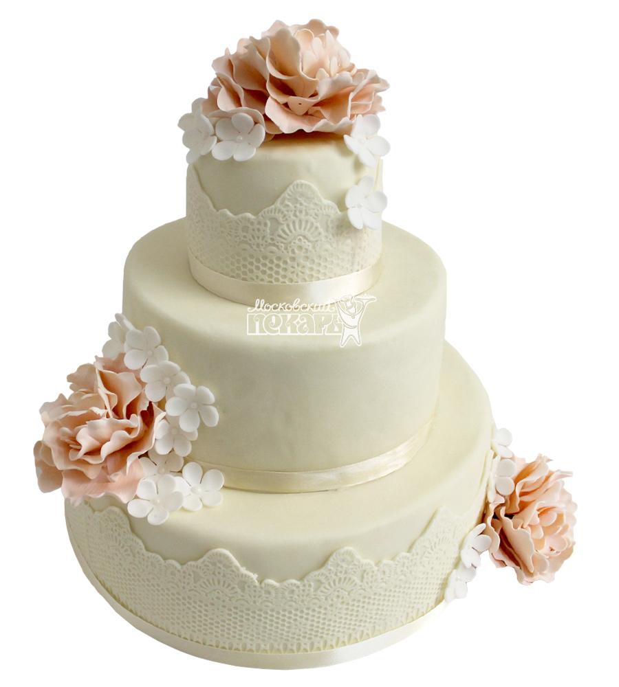 №2115 Свадебный торт с цветами