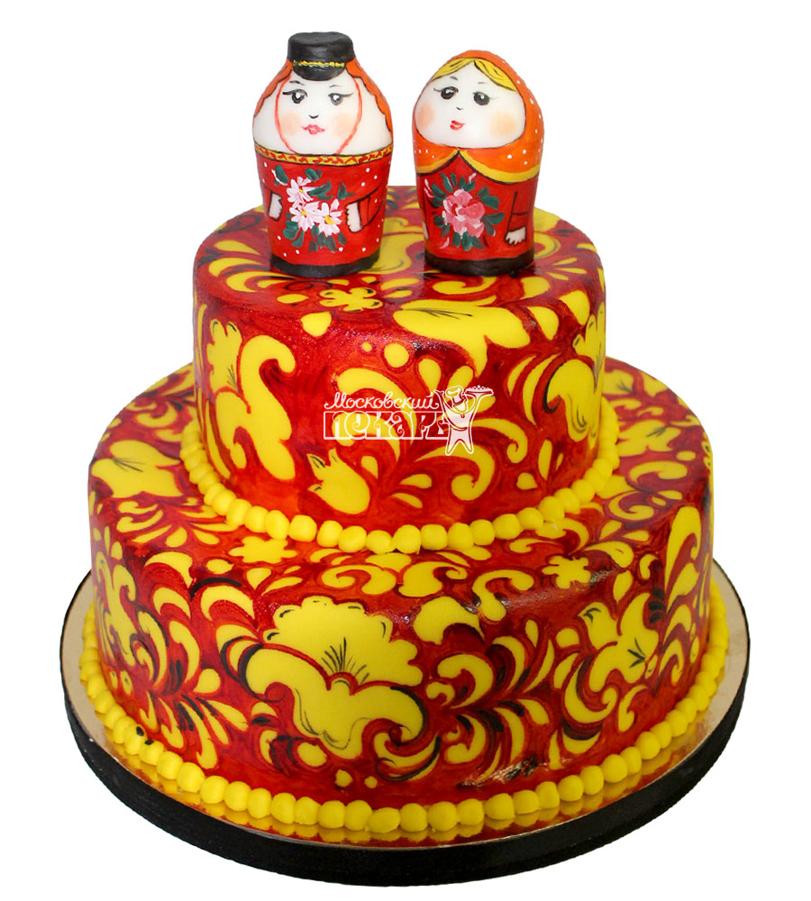 №2117 Свадебный торт Хохлома