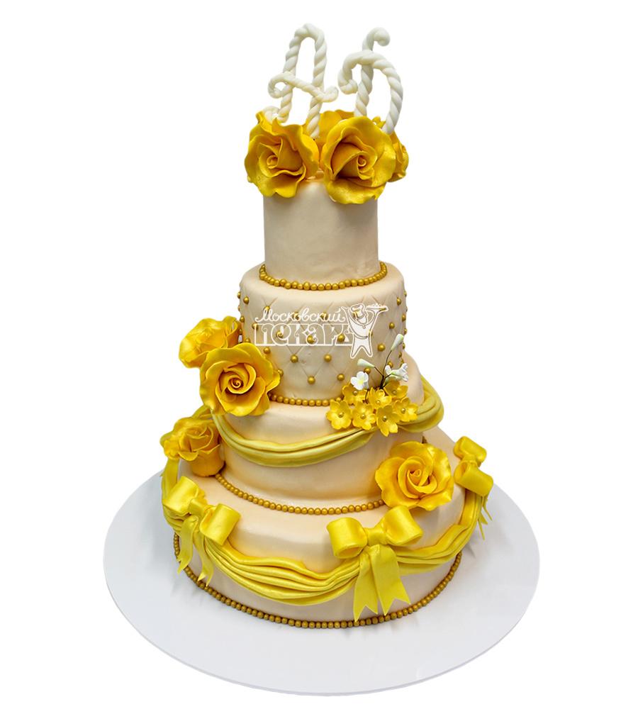 №2124 Свадебный торт с цветами